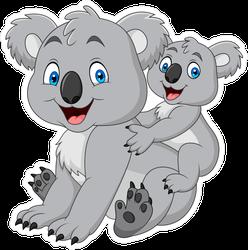 Mother And Baby Koala Bears Sticker
