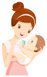Mother Feeding Baby with Bottle Sticker