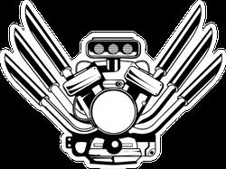Motor Engine Illustration Sticker