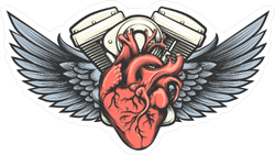 Motorcycle Engine With Wings Tattoo Sticker