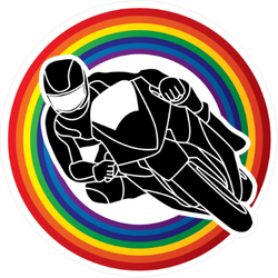 Motorcycle Racing Through Rainbow Sticker