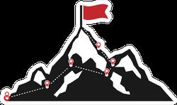 Mountain Climbing Route To Peak Sticker