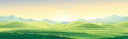 Mountain Landscape At Dawn Sticker