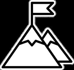 Mountain Peak Top With Flag Transfer Sticker
