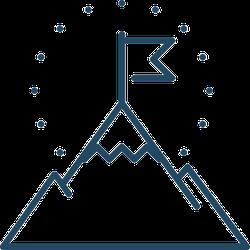 Mountain Peak With Flag Icon Sticker
