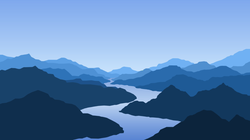 Mountains And Blue River Sticker