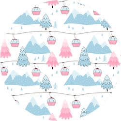 Mountains & Ski Gondolas Pattern Sticker