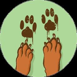 Muddy Paw Prints On Green Sticker
