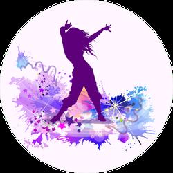 Multicolored Dancing Girl Splatter Sticker