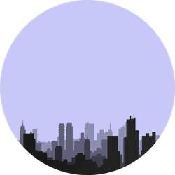 Multilayer Silhouette Of A Night City On A Gray Background Sticker