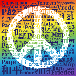 Multilingual Peace Sign Text Sticker