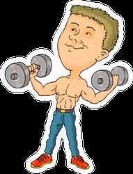 Muscular Man Bouncing Exercise Dumbbells Sticker