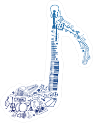 Music Note Drawn From Several Instruments Sticker