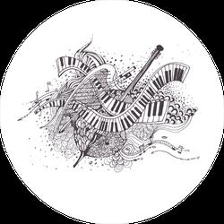 Musical Instrument Collage Illustration Sticker