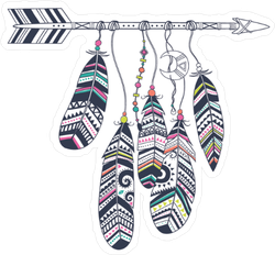 Native American Arrow And Feathers Boho Sticker