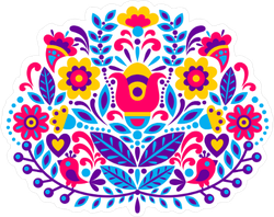 Native American Floral Decoration Sticker