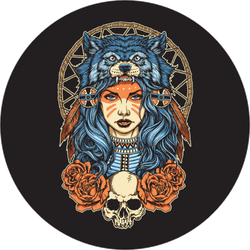 Native American Girl With Wolf Headdress Circle Sticker
