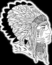 Native American In Zentangle Style Sticker