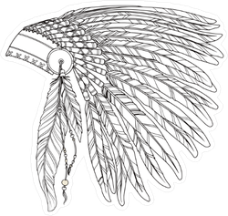 Native American Indian Chief Headdress Illustration Sticker