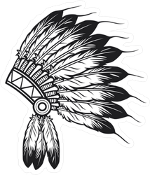 Native American Indian Chief Headdress Sticker