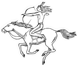 Native American Indian Riding Horse Sticker