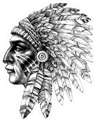 Native American Indian with War Headdress Sticker