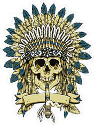 Native American Skull Headdress Sticker