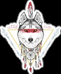 Native American Wolf Sticker