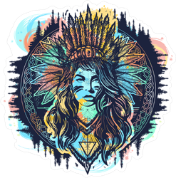 Native American Woman Tattoo Art Sticker
