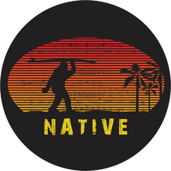 Native Surfing Bigfoot Sticker