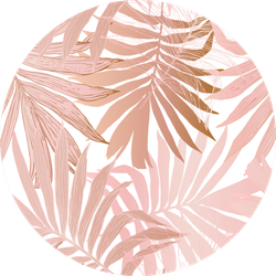 Nature Palm Tree Leaves In Silhouette Pink Sticker