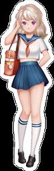 Navy Anime Girl Cartoon Character Sticker