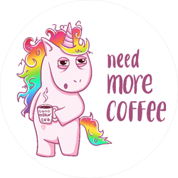 Need More Coffee Unicorn Sticker