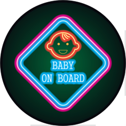 Neon Baby on Board Diamond Sticker