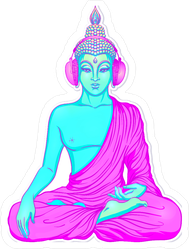 Neon Buddha Listening To The Music In Headphones Sticker