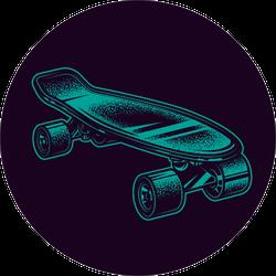 Neon Green Illustration Vintage Skateboard Sticker