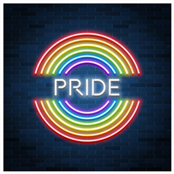 Neon Lgbt Pride Sign Sticker