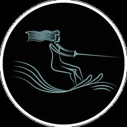 Neon Logo Beautiful Girl Water Skiing Sticker