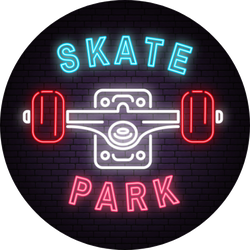 Neon Skate Park Sign Sticker