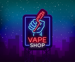 Neon Vape Shop Sign Sticker