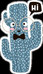 Nerdy Cartoon Cactus Saying Hi Sticker