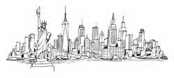 New York Drawing Stenciled Skyline Sticker