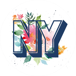 New York NY Watercolor Flowers Sticker
