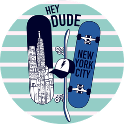 New York Skaters Hey Dude Sticker