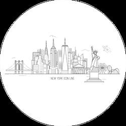 New York Skyline Cute Illustration In Line Art Style Sticker