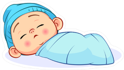 Newborn Sleeping Baby Boy Sticker
