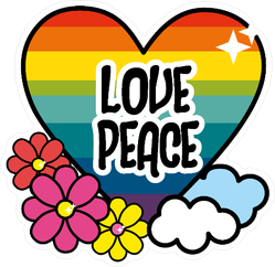Nice Hippie Heart With Flowers And Cloud Sticker