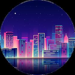 Night City Illustration With Neon Glow Sticker