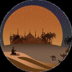 Night Scene Of Oasis In Arabian Desert Camel Sticker