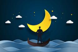 Night Sky on the Ocean Moon Sticker